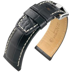 Hirsch Tritone Horlogeband voor Panerai Nijl Krokodillen Leer Semi-Mat Zwart