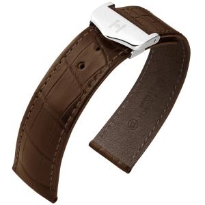 Hirsch Voyager Horlogeband voor Omega Vouwsluiting Louisiana Alligator Donkerbruin
