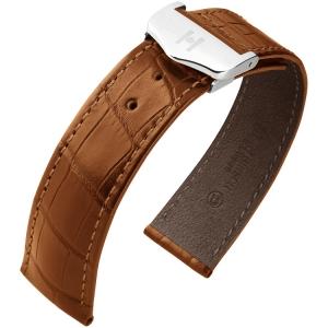 Hirsch Voyager Horlogeband voor Omega Vouwsluiting Louisiana Alligator Goudbruin