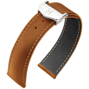 Hirsch Voyager Horlogeband voor Omega Vouwsluiting Italiaans Kalfsleer Goudbruin