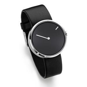 Jacob Jensen horlogeband Curve 251 Zwart Leer