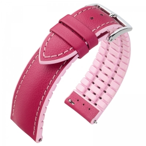 Hirsch Lindsey Performance Horlogeband Pink Leer / Rose Rubber