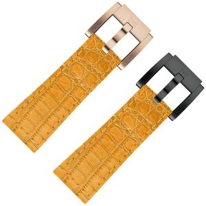 Horlogeband Oranje Leer Alligator 22mm - Marc Coblen
