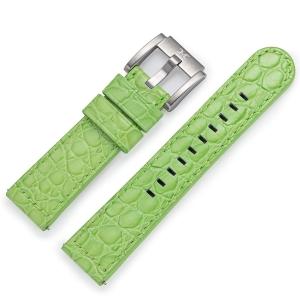 Horlogeband Lichtgroen Leer Alligator 22mm - Marc Coblen