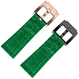 Horlogeband Donkergroen Leer Alligator 22mm - Marc Coblen