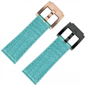 Horlogeband Turquoise Leer Alligator 22mm - Marc Coblen