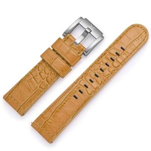 Horlogeband Camel Leer Alligator 22mm - Marc Coblen
