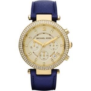 Michael Kors MK2280 Horlogeband Blauw Leer
