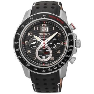 Seiko Sportura Horlogeband SPC139P1 Zwart Leer