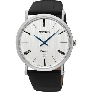 Seiko Premier Horlogeband SKP395 Zwart Leer
