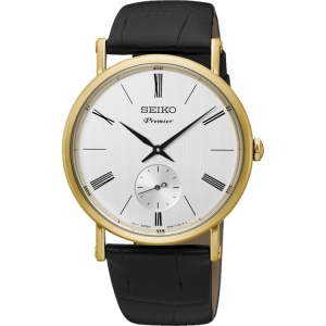 Seiko Premier Horlogeband SRK036P1 Zwart Leer