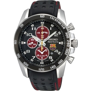 Seiko Sportura FC Barcelona Horlogeband SNAE75P1 Zwart Leer