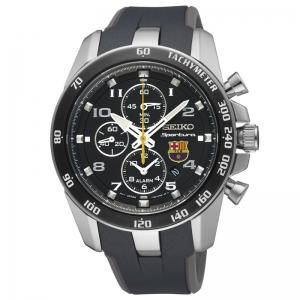 Seiko Sportura FC Barcelona Horlogeband SNAE93P1 Zwart, Grijs Rubber
