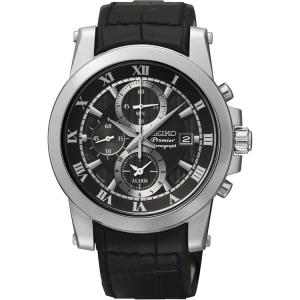 Seiko Premier Chronograph Horlogeband SNAF31P2 Zwart Leer