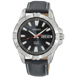 Seiko Solar Horlogeband SNE161 Zwart Leer