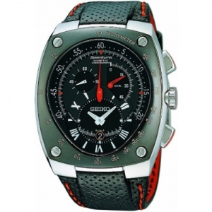 Seiko Sportura Horlogeband SNL017 Zwart Leer