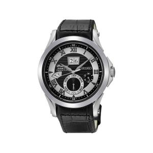 Seiko Premier Horlogeband SNP037 Zwart Leer