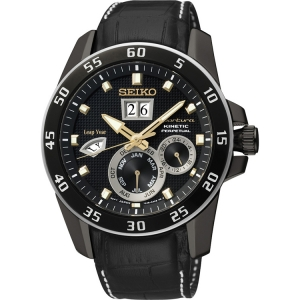 Seiko Sportura Horlogeband SNP089P1 Zwart Leer