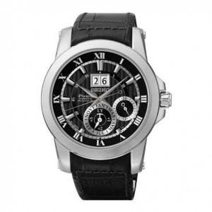 Seiko Premier Horlogeband SNP093P2 Zwart Leer