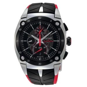 Seiko Sportura Horlogeband SPC009 Zwart, Rood Rubber
