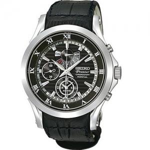 Seiko Premier Horlogeband SPC053P1 Zwart Leer