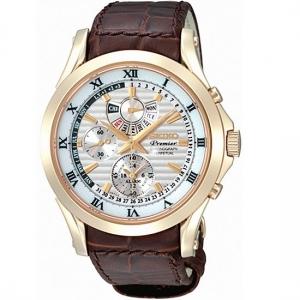 Seiko Premier Horlogeband SPC054P1 Bruin Leer