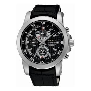 Seiko Premier Horlogeband SPC161P2 Zwart Leer