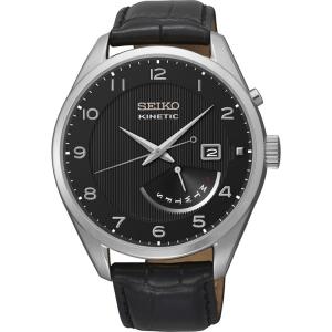 Seiko Kinetic Horlogeband SRN051P1 Zwart Leer