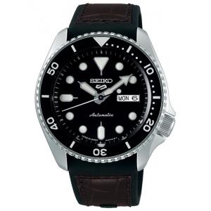 Seiko 5 Sports Horlogeband SRPD55 Zwart Rubber, Bruin Leer 22mm
