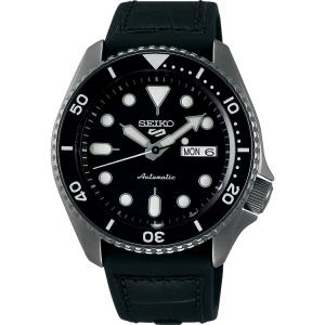 Seiko 5 Sports Horlogeband SRPD65 Zwart Rubber, Zwart Leer 22mm
