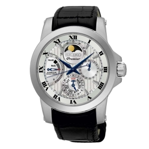 Seiko Premier Horlogeband SRX011P2 Zwart Leer