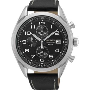 Seiko Quartz Horlogeband SSB271 Zwart Leer