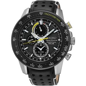 Seiko Sportura Solar Horlogeband SSC361P1 Zwart Leer