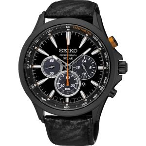Seiko Solar Horlogeband SSC499P1 Zwart Leer