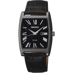 Seiko Solar Horlogeband SUT887P1 Zwart Leer