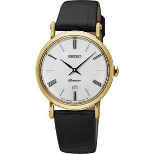 Seiko Premier Horlogeband SXB432P1 Zwart Leer