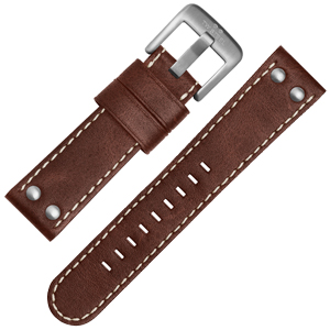 TW Steel Horlogebandje CS21, CS23 - TWS21 Bruin, Wit Stiksel 22mm
