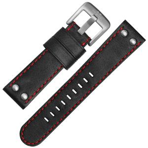 TW Steel Horlogebandje CS7, CS9 - TWS7 Zwart, Rood Stiksel 22mm