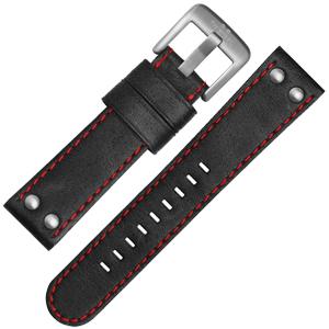 TW Steel Horlogebandje CS8, CS10 - TWS8 Zwart, Rood Stiksel 24mm