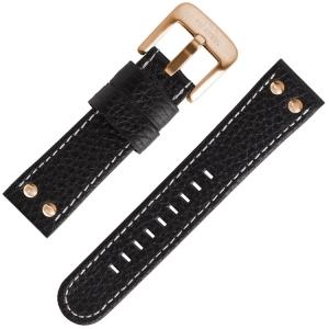 TW Steel Universeel Horlogebandje Zwart Leer Rosegouden Studs