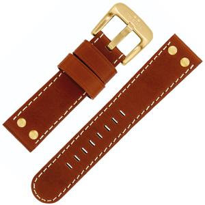 TW Steel Horlogeband Roodbruin, Geelgouden Gesp 22mm