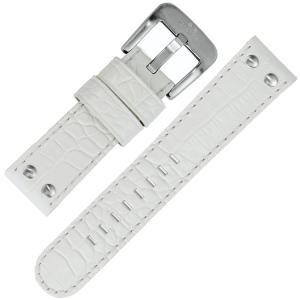 TW Steel Horlogebandje TW10, TW10R, TW35 - Wit Kroko Kalfsleer 22mm