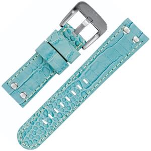 TW Steel Horlogeband Lichtblauw Kroko Kalfsleer 22mm