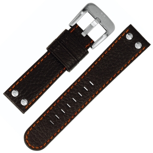 TW Steel Horlogebandje TW661, TW800 - Zwart, Oranjerood Stiksel 22mm