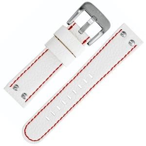 TW Steel Horlogebandje Wit met Rood Stiksel 22mm