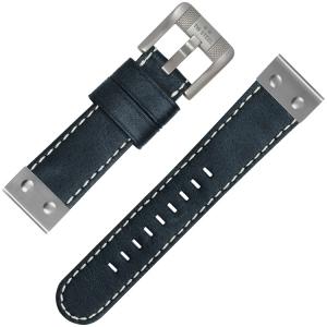 TW Steel Horlogebandje Blauwzwart Leer 24mm
