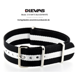 Black White NATO G10 Military Nylon Strap - SS/PVD