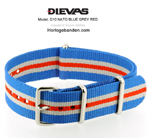 Blue Gray Red NATO G10 Military Nylon Strap - SS