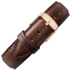Daniel Wellington 17mm Dapper Bristol Donkerbruin Leer Horlogebandje Rosé Gesp