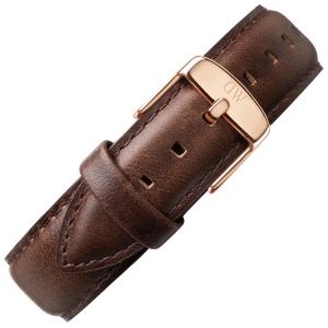 Daniel Wellington 19mm Dapper Bristol Donkerbruin Leer Horlogebandje Rosé Gesp